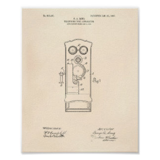 Telephone Toll 1906 Patent Art Old Peper Poster