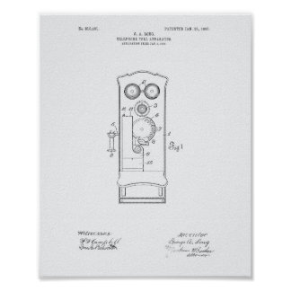 Telephone Toll 1906 Patent Art White Paper Poster