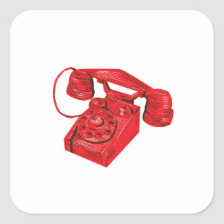 Telephone Vintage Drawing Square Sticker