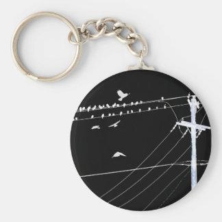 telephone wire basic round button keychain
