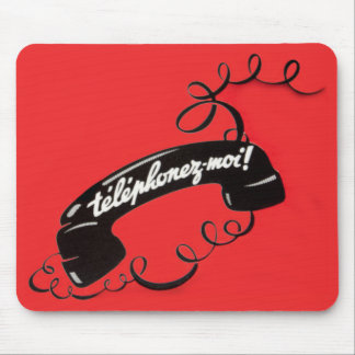 Telephonez-Moi! French Vintage Red Corded Phone Mouse Pad