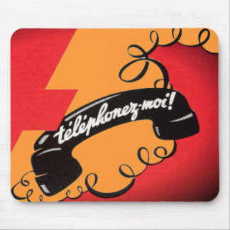 Telephonez-Moi French Vintage Red Orange Corded Mouse Pad