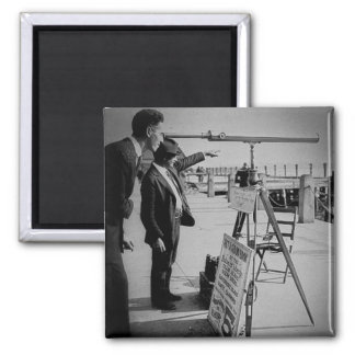 Telescope and Men The Battery Lower Manhattan NYC 2 Inch Square Magnet