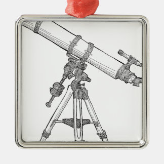Telescope Drawing Series Metal Ornament
