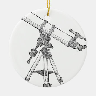 Telescope Drawing Series Double-Sided Ceramic Round Christmas Ornament