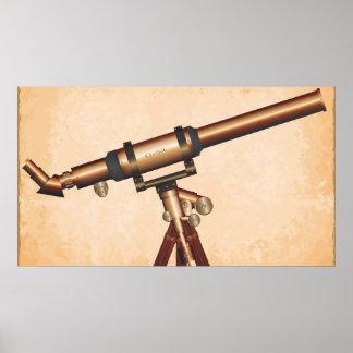 Telescopio clásico póster