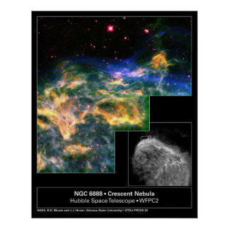 Telescopio creciente de Hubble de la nebulosa 6888 Poster