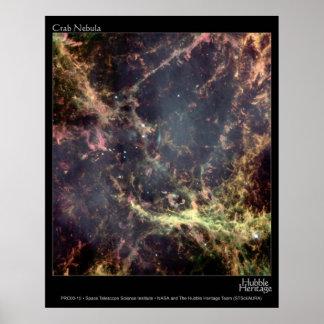 Telescopio de Hubble de la nebulosa de cangrejo Posters