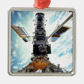Telescopio de Hubble Adorno Cuadrado Plateado