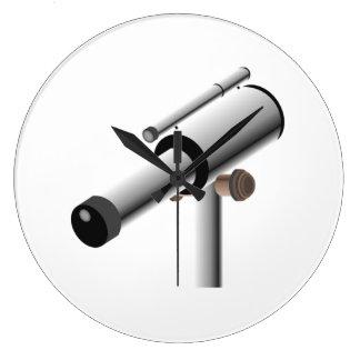 Telescopio de la ciencia de la astronomía reloj de pared