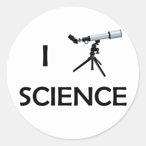 Telescopio de la ciencia del amor pegatina redonda