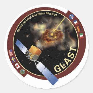 Telescopio espacial de la área extensa del rayo etiquetas redondas