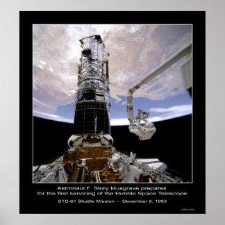 Telescopio espacial de Musgrave Hubble del astrona Póster
