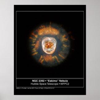 Telescopio esquimal de Hubble de la nebulosa 2392 Póster