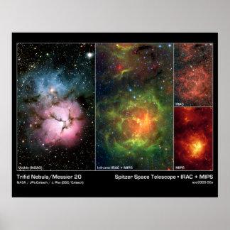Telescopio trífido de Spitzer de la nebulosa (20 m Posters