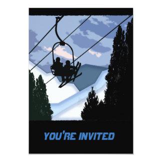"Telesilla por completo de esquiadores invitación 5"" x 7"""