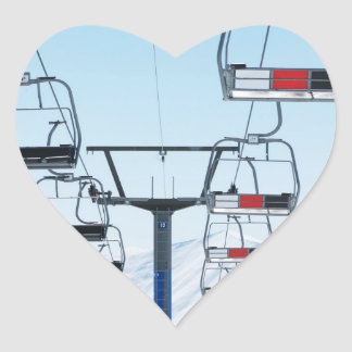 Telesillas del parque del esquí pegatina en forma de corazón