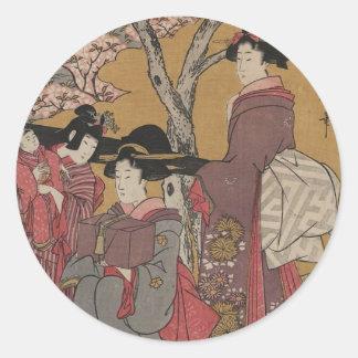 Teletipos japoneses del arte del vintage etiquetas redondas