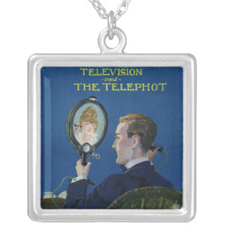 Television and The Telephot Square Pendant Necklace