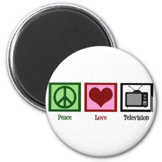 Televisión del amor de la paz imán redondo 5 cm