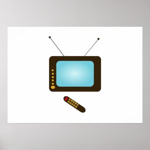 Televisión del vintage con el telecontrol poster