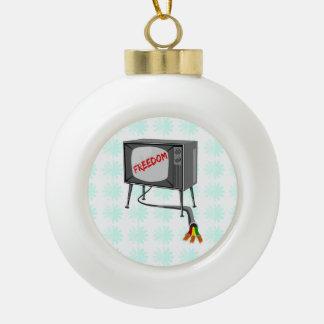 Television Freedom Ceramic Ball Christmas Ornament