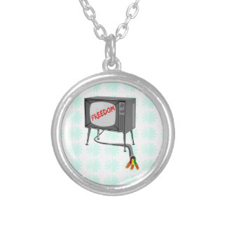 Television Freedom Round Pendant Necklace