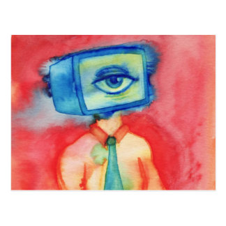 Television Headed Guy Postcard