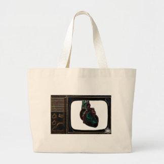Television Heart (Black) Large Tote Bag