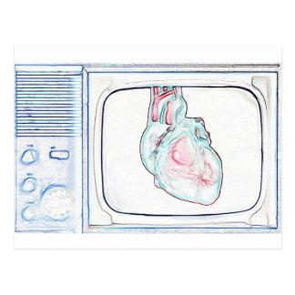 Television Heart (White) Postcard