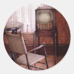 Televisión - la invención de la televisión pegatinas redondas