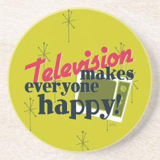 Television Makes Everyone Happy! Drink Coaster