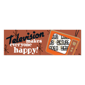 Television Makes Everyone Happy! Copper Brown Double-Sided Mini Business Cards (Pack Of 20)