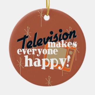 Television Makes Everyone Happy! Copper Brown Ceramic Ornament