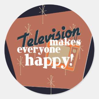Television Makes Everyone Happy! Copper Brown Classic Round Sticker