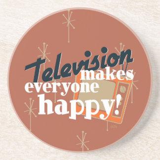Television Makes Everyone Happy! Copper Brown Sandstone Coaster