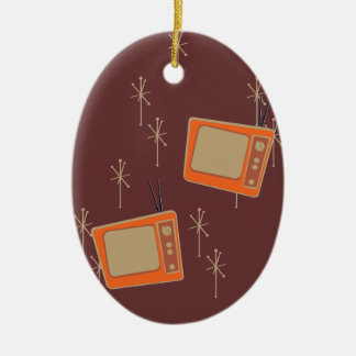 Television Makes Everyone Happy! Falling TVs Ceramic Ornament
