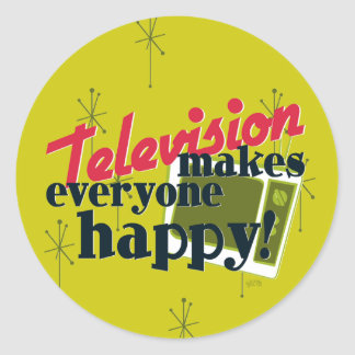 Television Makes Everyone Happy! Harvest Gold Classic Round Sticker