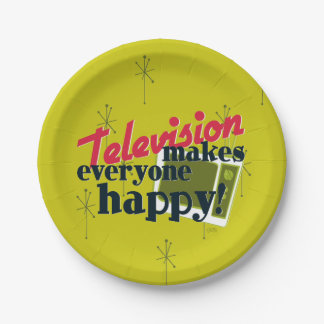 Television Makes Everyone Happy! Paper Plate
