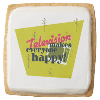 Television Makes Everyone Happy! Square Shortbread Cookie