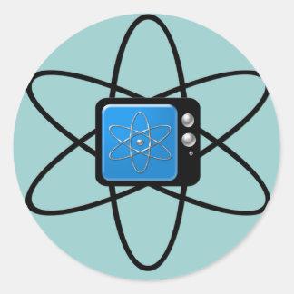 Televisión nuclear pegatina redonda