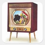 Televisión retra de color del kitsch TV del Pegatina Cuadrada
