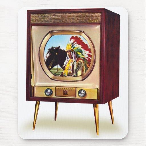 Televisión retra de color del kitsch TV del vintag Alfombrillas De Ratón