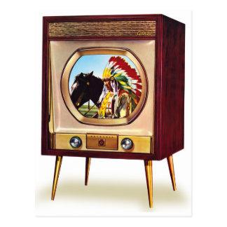 Televisión retra de color del kitsch TV del vintag Postal