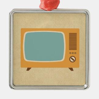 Televisión retra adorno cuadrado plateado