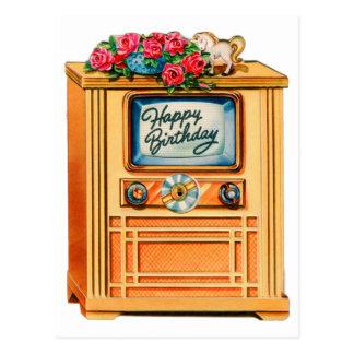 Televisión retra del feliz cumpleaños TV del Tarjetas Postales