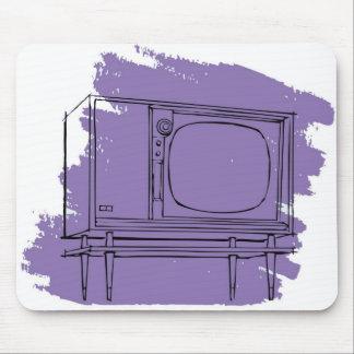 Televisión retra del kitsch 50s TV del vintage Tapetes De Ratones
