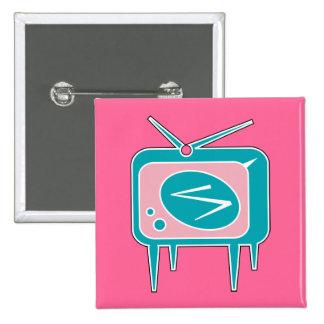 Televisión retra del vintage TV Pin Cuadrado