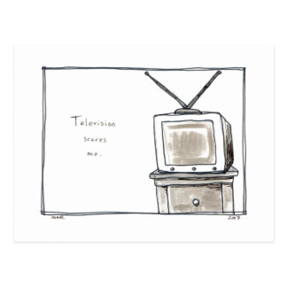 Television scares me old tv fun original art postcard