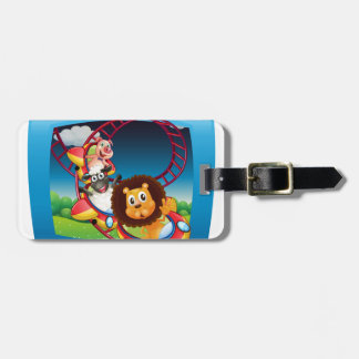 Television screen with animals on the rollercoaste bag tag